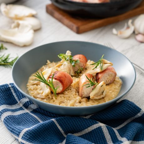 Risotto with DON® bacon wrapped chicken and oyster mushrooms